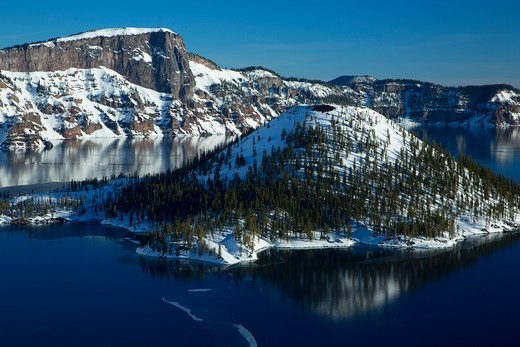 Stock Photo: 1596-4450 USA, Oregon, Crater Lake National Park, Wizard Island with Llao Rock