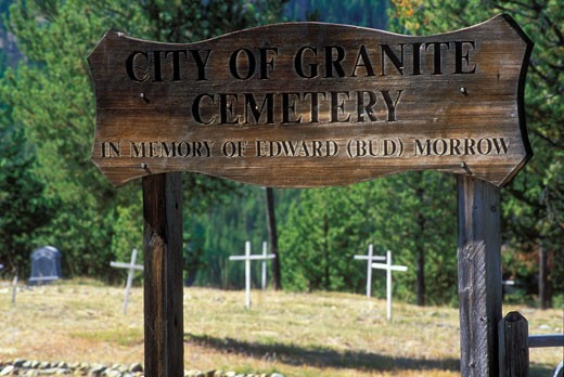 Close-up of a sign in a cemetery, Elkhorn Drive National Scenic Byway, Granite, Oregon, USA : Stock Photo