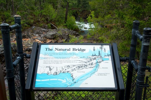 Stock Photo: 1596-5063 Interpretive board at Natural Bridge, Rogue Wild and Scenic River, Rogue River National Forest, Rogue-Umpqua National Scenic Byway, Oregon, USA