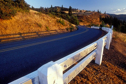 Highway along a hill, Columbia River Highway, Columbia River Gorge National Scenic Area, Oregon, USA : Stock Photo
