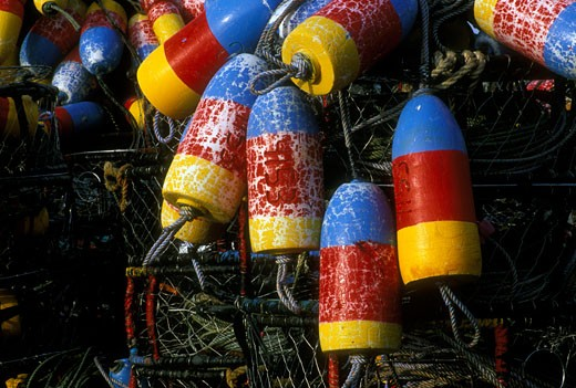 Buoys with crab pots : Stock Photo