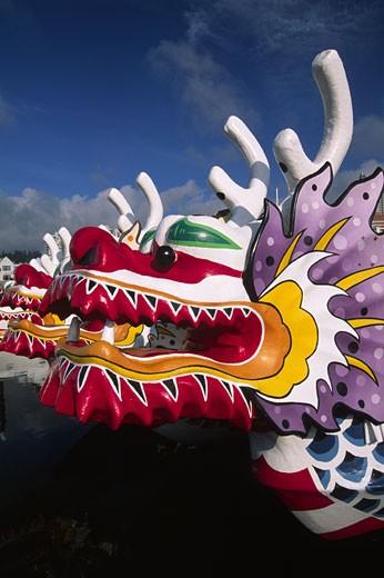 Close-up of a dragon boat, Portland Rose Festival, Portland, Oregon, USA : Stock Photo