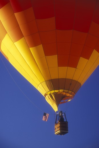 Low angle view of a hot air balloon in the sky, The Great Prosser Balloon Rally, Prosser, Washington, USA : Stock Photo