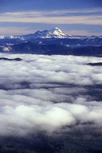 Clouds over mountains, Mount Baker, Mount Pilchuck State Park, Washington, USA : Stock Photo