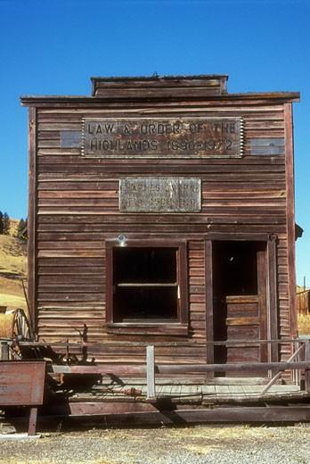 Facade of a frontier law office, Old Molson Museum, Molson, Washington, USA : Stock Photo