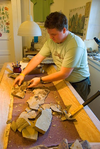 Side view of a paleontologist examining fossils in a laboratory, Stonerose Interpretive Center and Eocene Fossil Site, Republic, Washington State, USA : Stock Photo