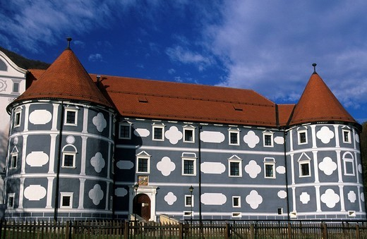 Slovenia, castle, painted facade, castle, Olimje : Stock Photo