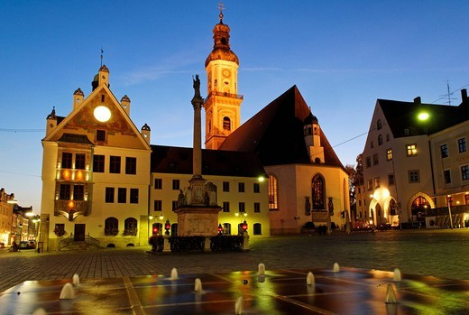 Marienplatz, church Saint Georg, historical, Old T : Stock Photo