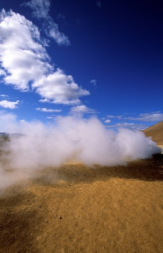 Hverir, Iceland, landscape, scenery, sulphur steam : Stock Photo