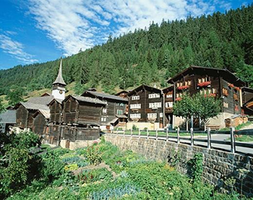 alpine, Alps, mountain village, mountains, village, garden, Goms, canton Valais, Niederwald, Switzerland, Europe, st : Stock Photo