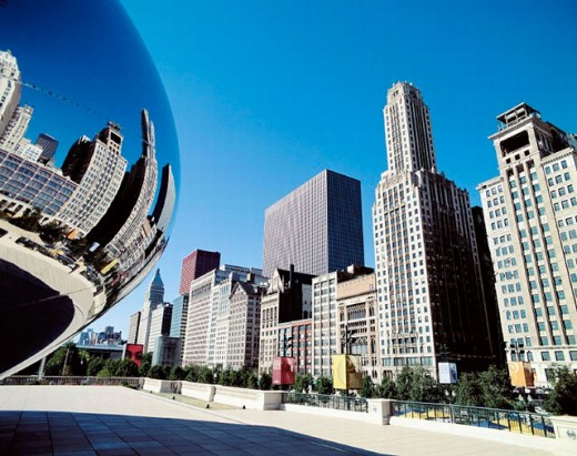 Chicago, Frank Gehry, Illinois, millennium park, modern, reflection, USA, America, North America, : Stock Photo