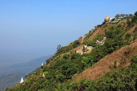 Stock Photo: 1597-102914 Myanmar, Birma, Burma, Mon State, landscape panorama from Kyaikhtiyo Pagoda