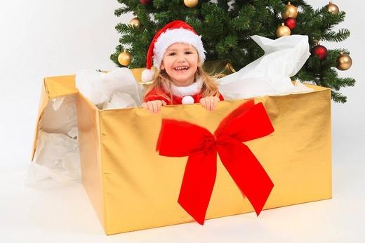 Mädchen als Weihnachtsmann verkleidet, Studio, Zuerich, Switzerland : Stock Photo