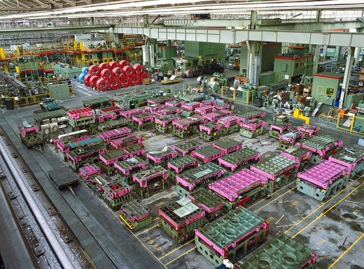 Stock Photo: 1597-103644 Building, Coil, Coils, Economy, Facility, Factories, Factory, Indoor, Industrial, Industry, Interior, Logistics, Making, Manufac
