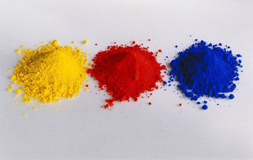 Stock Photo: 1597-103806 Pigment, Art And Caft Equipment, Paint, Colour, Dye, Red, Yellow, Blue, Still Life, Variation, Choice, Creativity, Ideas