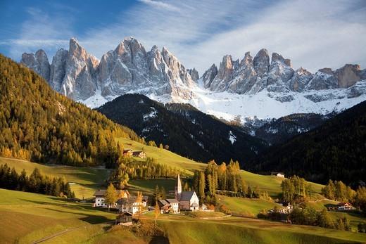 Italy, Europe, Dolomites, Alps, UNESCO, world cultural heritage, fun, Villnoss, Santa Maddalena, church : Stock Photo