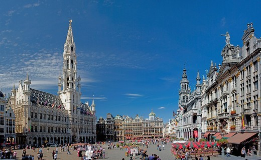 Belgium, Europe, Bruxelles, Brussels, La Grand Place, Grote market, UNESCO, world cultural heritage, city hall, place, tourist : Stock Photo