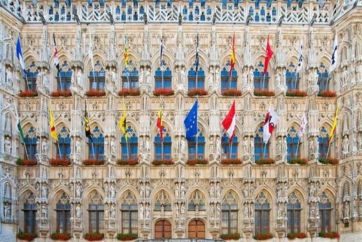 Belgium, Europe, Leuven, city hall, facade, Gothic, flags : Stock Photo