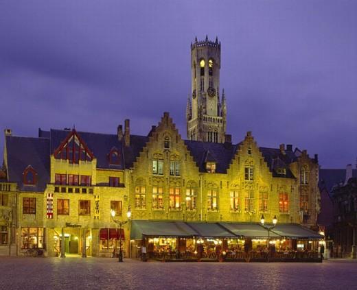 Stock Photo: 1597-10435  evening, illuminated, belfry, Belgium, Brugge, Bruges, castle, EU, Europe, European, holidays, Flanders, bell, bell