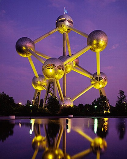 evening, architecture, Atomium, architecture, exhibit, illuminated, Belgium, Brussels, EU, Europe, holidays, capital : Stock Photo