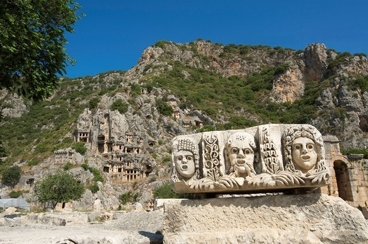 Turkish, Riviera, Lycia, cliff graves, theatrical masks, Myra, Lycia, south coast, Turkey, culture : Stock Photo