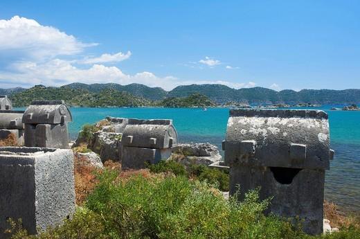 Stock Photo: 1597-105077 Turkish, Riviera, sarcophagi, Ucagiz, south coast, Turkey, sea