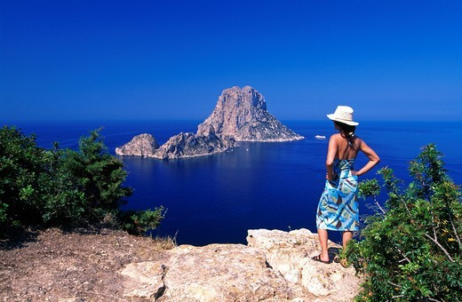 Stock Photo: 1597-105116 outside, Balearic Islands, It Vedra, woman, Ibiza, island, isle, coast, coastal scenery, scenery, seashore, person, model releas