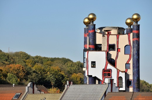 Stock Photo: 1597-105260 Architecture, facade, peace empire, building, construction, Hundertwasser, Haus, Turm, culture, art, skill, Plochingen, rain tow