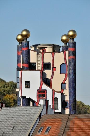 Architecture, facade, peace empire, building, construction, Hundertwasser, Haus, Turm, culture, art, skill, Plochingen, rain tow : Stock Photo
