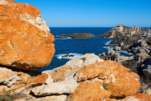 Stock Photo: 1597-105734 Cap de Creus, Spain, Europe, Catalonia, Costa Brava, sea, Mediterranean Sea, coast, rock coast, cape, rock, cliff, cliff forms,