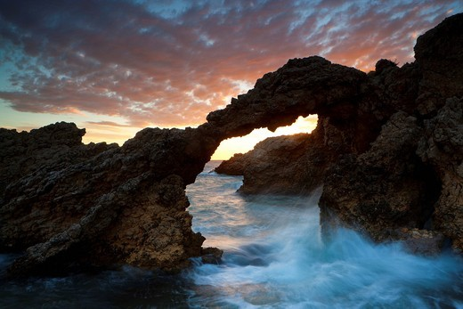 Stock Photo: 1597-105771 L´Escala, Spain, Europe, Catalonia, Costa Brava, sea, Mediterranean Sea, coast, rock coast, rock, cliff, cliff curve, erosion, w