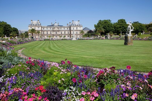 Europe, France, Paris, Luxembourg Gardens, Luxembourg Palace, Palais du Luxembourg, Jardin du Luxembourg, The Senate, Tourism, Travel, Holiday, Vacation : Stock Photo