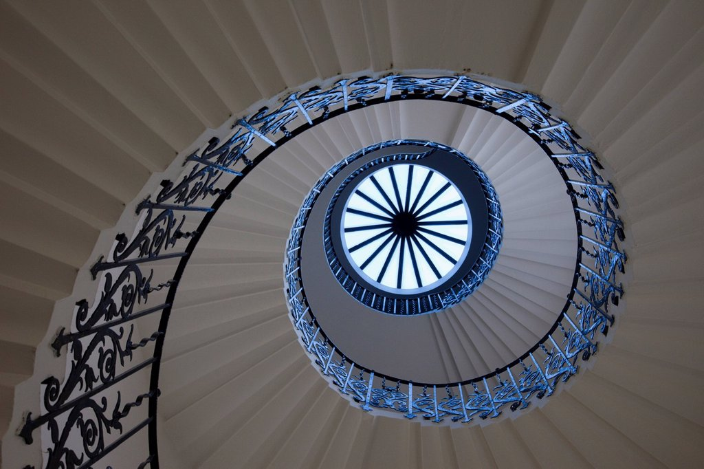 Stock Photo: 1597-106618 UK, United Kingdom, Great Britain, Britain, England, London, Greenwich, Queens House, Stairs, Staircase, Stairwell, Spiral, Graphic, Museum, Museums, Interior, Interiors, UNESCO, UNESCO World Heritage, Tourism, Travel, Holiday, Vacation