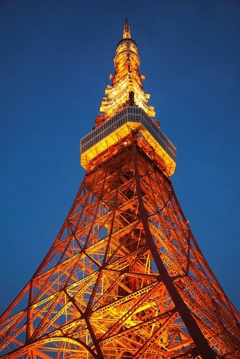 Asia, Japan, Honshu, Tokyo, Tokyo Tower, Night View, Tourism, Travel, Holiday, Vacation : Stock Photo