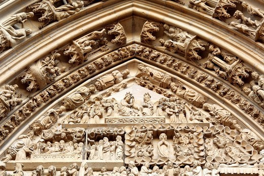Stock Photo: 1597-107586 France, French, Western Europe, Europe, European, Architecture, building, City, town, Alsace, Sculpture, statue, art, Facade, portal, Thann, Haut_Rhin department, Collegiale Saint_Thiebaut, Saint_Theobald collegiate church, tympanum, medieval, Middle Ages