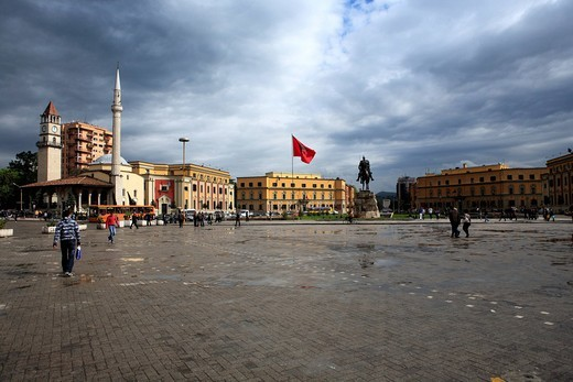 Stock Photo: 1597-107755 Albania, Balkans, Central Europe, Eastern Europe, European, Southern Europe, travel destinations, Architecture, building, house, houses, Tirana, Tirane, Skanderbeg square