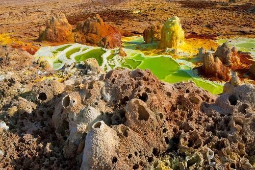 Stock Photo: 1597-107975 Dallol, Africa, Ethiopia, Afar region, Afgar, Danakil, desert, volcano lake, acid volcano, depositions, minerals, colors, forms, shapes, fumaroles, gas escape, sulphur steam
