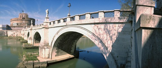 bridge, angel´s castle, river, flow, Italy, Europe, Rome, Tiber, angel´s bridge : Stock Photo