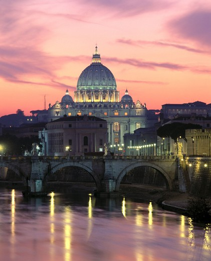 angel´s bridge, Italy, Europe, at night, Peter´s cathedral, Rome, mood, Tiber, : Stock Photo