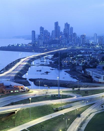 highway, Corredor Sur, at night, Panama, Panama city, Punta Paitilla, skyline, : Stock Photo