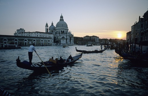 Stock Photo: 1597-108634 Canale Grande, canal, church, dusk, gondolas, Italy, Europe, Santa Maria della Salute, mood, twilight, Venice,