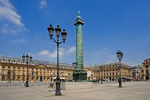 Stock Photo: 1597-109012 France, Europe, Paris, city, Vendome Square, La Colonne, column, historic, history, lanterns, buildings, town