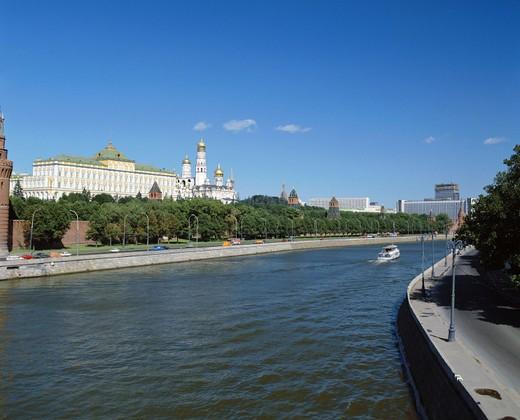 Stock Photo: 1597-109294  river, flow, Kremlin, Moscow, Moskwa, Russia, ship, bank promenade,