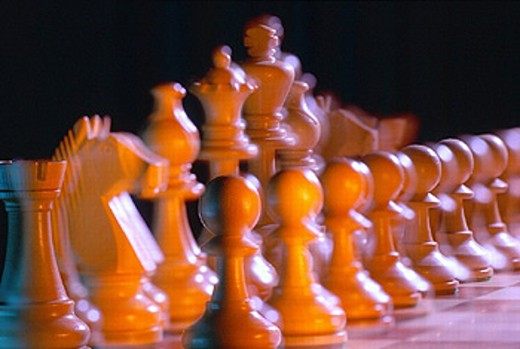 Stock Photo: 1597-10976  arrangement, grouping, order, row, chess, check, board play, play, game, play figure, still life,