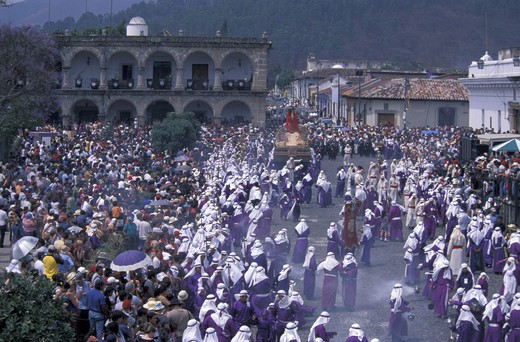 Stock Photo: 1597-109817 Easter Procession, Semana Santa, Holy Week, Antigua, Guatemala, Central America, Christianity, Procession, Easter, Rel