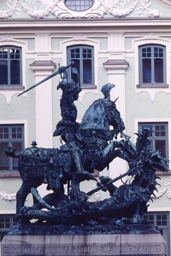 Saint Georg, dragon, dragon slayer, sculpture, plastic, Stockholm, Sweden : Stock Photo