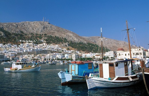 Pothia, Kalymnos, Dodecanese, Greece, Europe, Boat, boats, Europe, fishing boat, fishing boats, greek, harbor, harbor, : Stock Photo