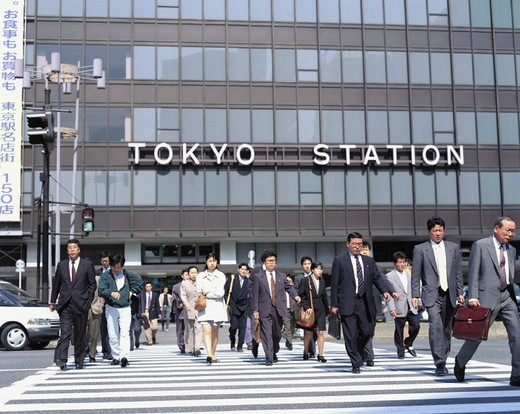 outside, cars, automobiles, railway station, Japan, Asia, life, person, pedestrian, passerby, Tokyo, crosswalk, : Stock Photo