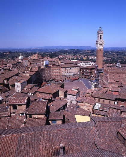 Siena, overview, old town, roofs, Tuscany, Toscana, Italy, Europe, : Stock Photo