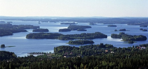 Stock Photo: 1597-11110  Finland, island, isle, season, scenery, nature, lake, sea, lake scenery, summer, wood, forest, width, broadness,